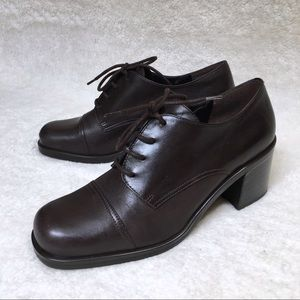 90s Vintage Lace Up Chunky Leather Heels Nine West